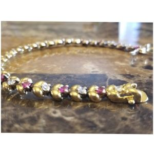"""Jewelry - Faux Ruby & CZ Gold Bracelet 7"""""""